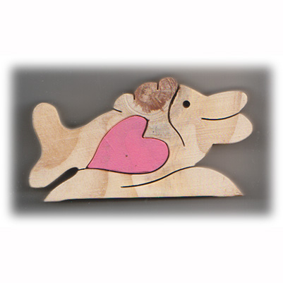 Fish with heart - wooden heart treasure