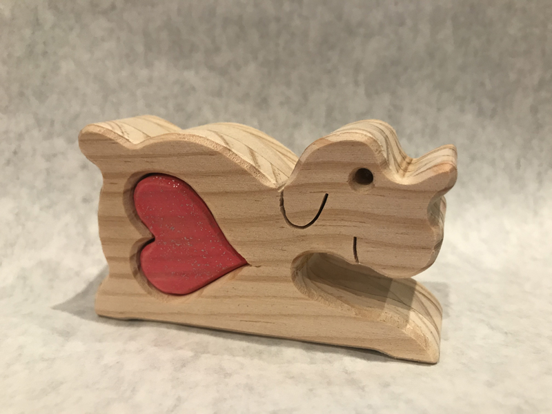 Dog with heart - wooden heart treasure
