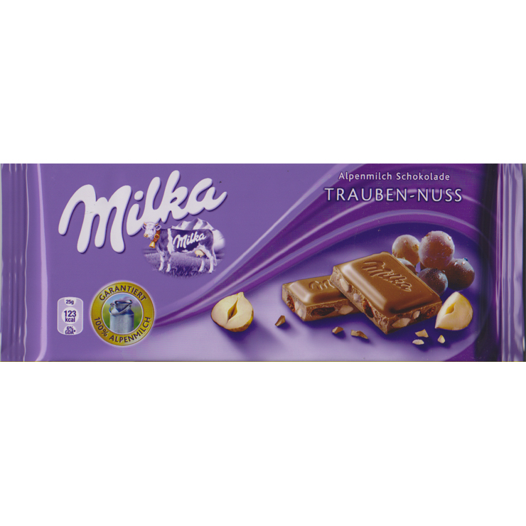 Milka w raisins and hazelnut