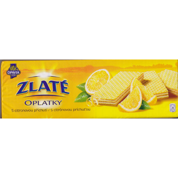 Golden wafers with lemon flavor