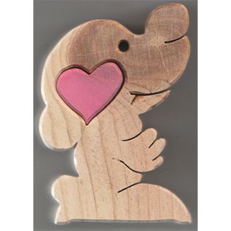 Sitting dog  with heart - wooden heart treasure