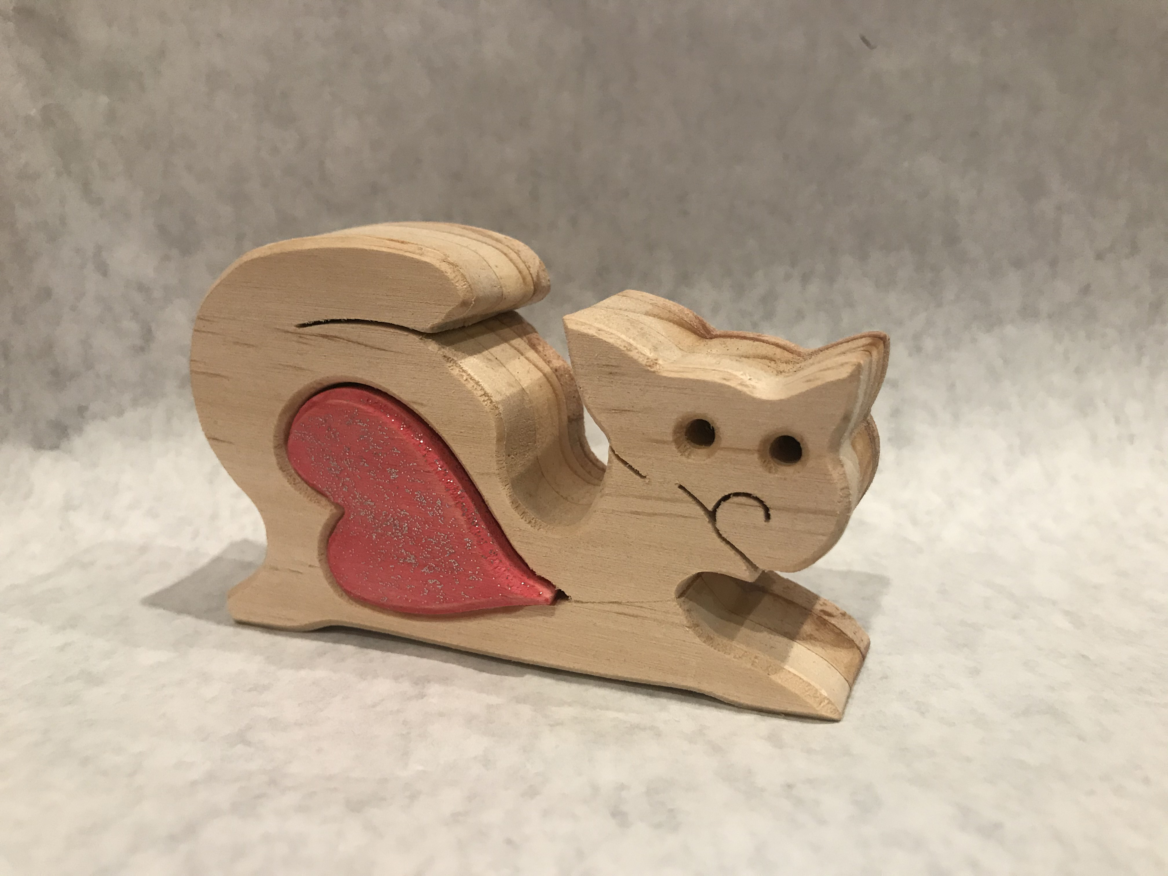 Cat with heart - wooden heart treasure
