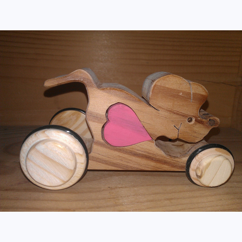 Mouse with heart on wheels