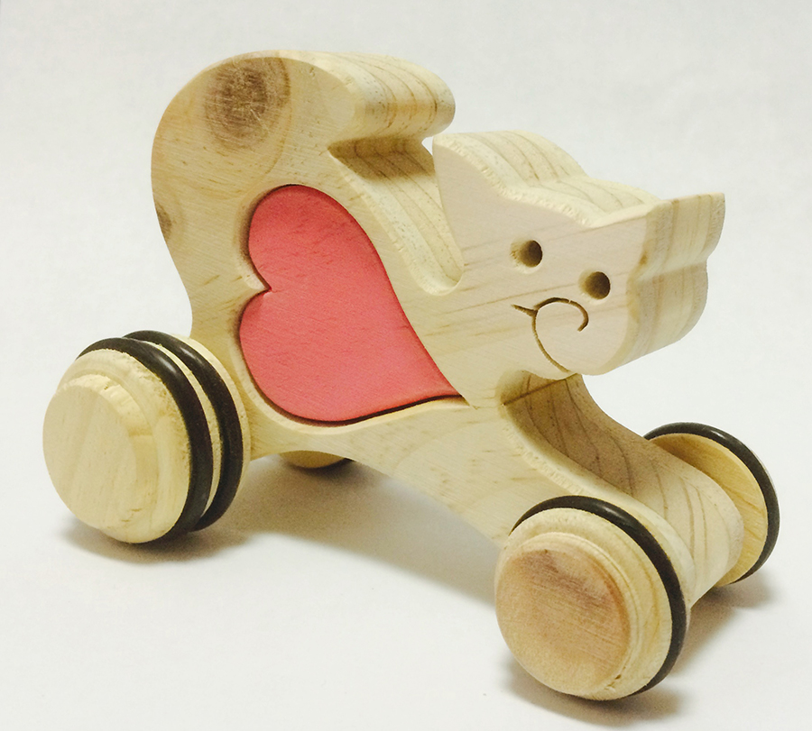 Cat with heart on wheels