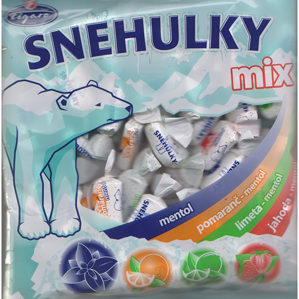 Snehulky Mix caramels - menthol with fruit flavour