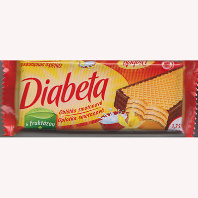 Diabeta wafer with milk cream filling
