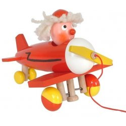 Plane red pull toy with moving head