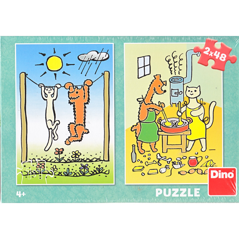 Puzzle Dog and Cat 2x48pcs